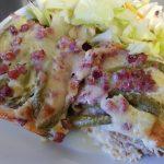 Brødpie med asparges og Parmigiano Reggiano.