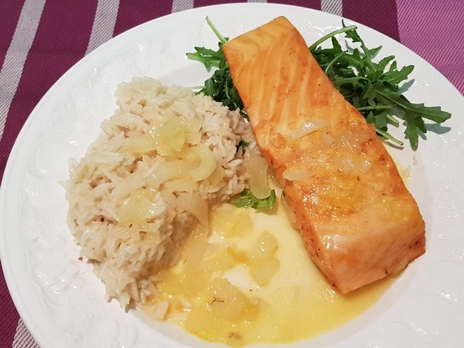 Photo of Citrusmarineret laks med ris pilaf