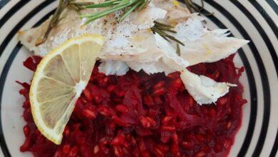 Photo of Spelt risotto med rødbede og ovnbagt kulmule